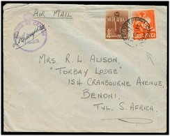 SOUTH AFRICA. 1942 (13 Nov). WW II. S. Africa Forces In Egypt Censored Fkd Cover To Benoni. Airmail. - Afrique Du Sud (1961-...)