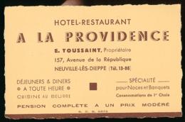 """CARTE DE VISITE, """"A LA PROVIDENCE"""", HOTEL-RESTAURANT, E. TOUSSAINT, PROPRIETAIRE, NEUVILLE-LES-DIEPPE (SEINE-MARITIME) - Cartes De Visite"""