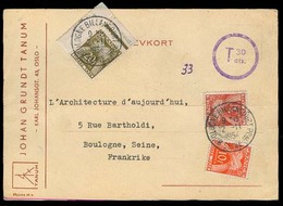 NORWAY. 1954. Oslo - France. Multifkd Comercial Private Card + Taxed + Aux Marks + Tricolor French P Dues + Arrival Cds. - Non Classés