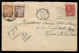 CANADA. 1926 (11 Feb). Montreal - France. Fkd Env + Taxed + 2 French P Dues / Tied. Fine. 1fr 50c Tax Bicolor. - Canada