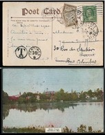 USA - XX. 1910. NY - France. Fkd Card (Salisbury / Md) Taxed, Aux Mark + 2 X French P Dues. Fine. - Unclassified