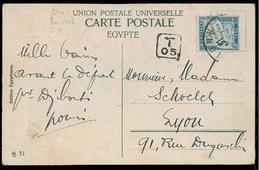 "EGYPT. 1912. Port Said - France. Fkd Reverse PPC Aur Mark ""T-05"" French P Due 5c Tied. Fine. - Égypte"