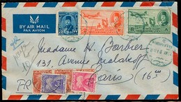 EGYPT. 1946. Alexandria - France. Air Multifkd Env / Blue Cachet + French P Dues X 5 Diff Tied Cds + Aux Marks Spectacul - Égypte