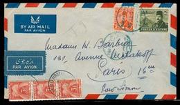 EGYPT. 1948. Alexandria - France. Air Fkd Env Blue Cachet Taxed French P Dues 3 Fr Strip Of Three Tied Cds. VF. - Égypte