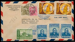 DOMINICAN REP. 1952. Ciudad Trujillo - France. Multifkd Air Env + Taxed French P Dues / Tied Cds. Nice Cond. - Dominicaine (République)