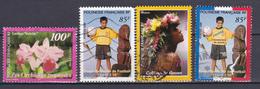 Polynésie Flore Orchidées Football Colliers Coquillages Et Fleurs Football N°563-565-568-571 Oblitéré - Polynésie Française