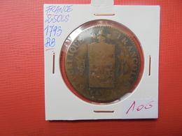 """CONSTITUTION 2 SOL """"AUX BALANCES"""" 1793 """"BB"""" - 1789-1795 Monnaies Constitutionnelles"""