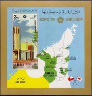 SHARJAH - U.A.E.- EXPO OSAKA JAPAN- MAPS UAE - 1970. - Mi. Bl. - MNH ** - Géographie
