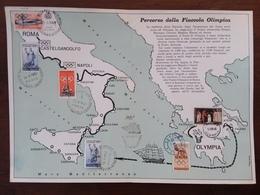 REPUBBLICA - Olimpiadi Di Roma 1960 - Cartoncino Del Percorso Della Fiamma Olimpica - Non Comune + Spese Postali - F.D.C.
