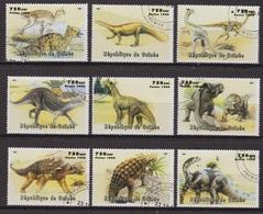 Animaux Préhistoriques - REPUBLIQUE DE GUINEE - Cynognathus, Brontosaure, Stégosaure, Tricératops - 1998 - Guinée (1958-...)