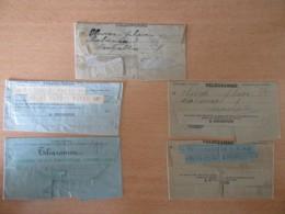 France - Lot De 5 Télégrammes Anciens Dont Un Envoyé En 1895 - A étudier - Télégraphes Et Téléphones