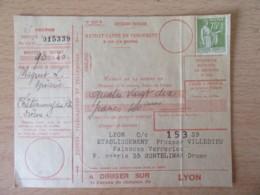 France - Timbre Type Paix 75c YT N°284A Non-oblitéré Sur Mandat-carte De Versement - Vers 1932 - 1921-1960: Moderne