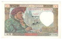 France 50 Francs Jacques Coeur 24/04/1941 SUP/AUNC - Tache/Stain - 1871-1952 Antichi Franchi Circolanti Nel XX Secolo