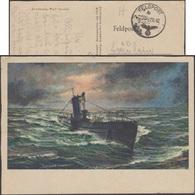 Allemagne 1942. Carte De Franchise Militaire De L'OKW. Peinture De Wolf Strobel, Auteur D'œuvres De Sous-marins - Sous-marins