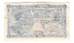 Belgium 1 Franc 08/04/1920 Print Error ?! *L* - [ 2] 1831-... : Regno Del Belgio