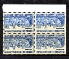 QUS178 - CEYLON SRI LANKA 1954 , Yvert N. 291  In Splendida Quartina Integra  ***  MNH  Royal Visit - Sri Lanka (Ceylon) (1948-...)