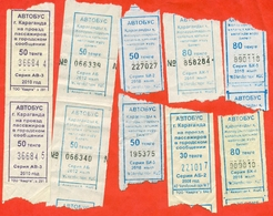 Kazakhstan 2008,10,12,14.18. City Karaganda. One Way Tickets On Bus. Lot Of 10 Tickets. - Bus