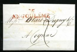 "1806 - Marque ""15 / ANGOULEME"" En ROUGE - 5 Nivose An 14 - Sur Lettre - Postmark Collection (Covers)"