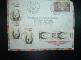 DEVANT  Par Avion Pour La FRANCE TP LE TECK 15F + TP 2F + 2 Paires OBL.25-7 1961 LOME RP - Togo (1960-...)