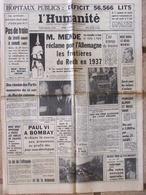 Journal L'Humanité (5 Déc 1964) Hôpitaux Publics - Frontières Allemagne - Sorcière Du Mans - La Réunion - Journaux - Quotidiens