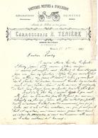 Facture Voitures Neuves & D'occasion Réparations Peintures à Hirson En 1898 - Francia