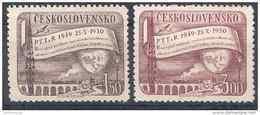 1950 TCHECOSLOVAQUIE 548-49** Postes, Radio, Train, Pont - Unused Stamps