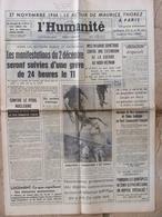 Journal L'Humanité (27 Nov 1964) Arrêt Journal Libération - Thorez à Paris - Quintuplés - Téléphone - Journaux - Quotidiens