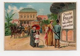 CHROMO Chocolat Poulain Affiche Kiosque Couple Mère Enfant Parapluie Cerceau Chevaux Diligence - Poulain