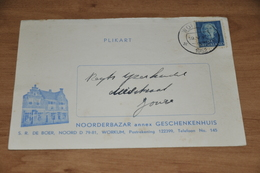3    BEDRIJFSKAART  NOORDERBAZAR ANNEX GESCHENKENHUIS S.R. DE BOER, WORKUM - 1952 - Kaarten