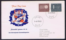 Norway 1965 The 100th Anniversary Of International Telecommunication - UIT.  Set Of 2 On FDC Sent To Denmark - FDC