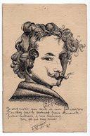 PORTRAIT D HOMME    DESSIN SIGNE CAZEAUX  ARENGOSSE    FORMAT  CARTE POSTALE ANCIENNE - Drawings