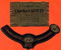 étiquette + Collerette De Champagne Brut Tete De Cuvée Charles Lafitte à Tours Sur Marne - 75 Cl - Champagne