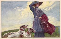 ART DÉCO : JEUNE FEMME Et CHIEN / LADY & DOG - ARTIST SIGNED / ILLUSTRATION : T. CORBELLA (aa888) - Corbella, T.