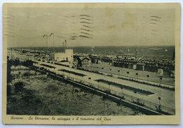 RICCIONE - La Litoranea, La Spiaggia E Il Trimotore Del Duce (Viaggiata 1938) - Rimini