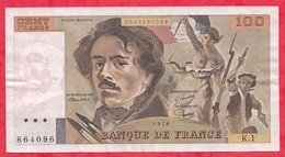 """100 Francs """"Delacroix"""" 1978 ----VF/SUP---Série K1--NON HACHURE PEU COMMUN ALPH.1 - 1962-1997 ''Francs''"""