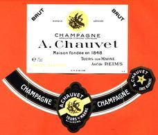 étiquette + Collerette De Champagne Brut A Chauvet à Tours Sur Marne - 75 Cl - Champagne
