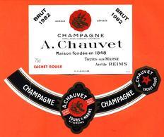 étiquette + Collerette De Champagne Brut 1982 Cachet Rouge A Chauvet à Tours Sur Marne - 75 Cl - Champagne