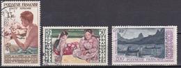 Polynésie Poste Aérienne Graveur Sur Nacre Tahitienne Gauguin Peche La Nuit N°1-2-4 Oblitéré - Luftpost