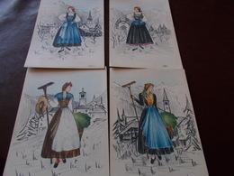 B717  4 Cartoline Illustrazioni Di Donne Che Lavorano Nei Campi No Viaggiate - Métiers