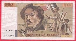 """100 Francs """"Delacroix"""" 1978 ----VF/SUP ---Série J.4- HACHURE  ALPH.4 - 1962-1997 ''Francs''"""