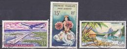 Polynésie Poste Aérienne Inauguration De L Aéroport Danseuse Paysage De Moorea  N°5-7-9 Oblitéré - Poste Aérienne