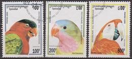 Faune, Oiseaux - CAMBODGE - Perroquets, Psittacidés - N° 1263-1264-1266 - 1995 - Cambodge
