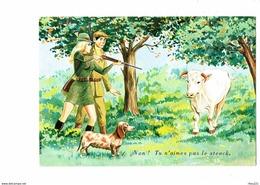 Carte Fantaisie - Illustration CARRERE Chasse Chasseur Femme Fusil Cartouchière Vache Steack Chien Teckel 50357 Photochr - Carrière, Louis