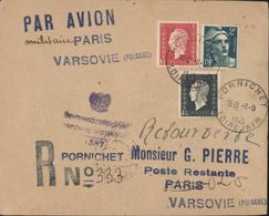 Reprise Traffic Aérien Après Guerre Par Avion Militaire Paris Varsovie Censure Pologne Recommandé Provisoire Pornichet - Marcophilie (Lettres)
