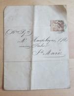 Timbre Groupe «Paix Et Commerce» Type Sage 2c Brun-rouge Courrier Du 10 Nov. 1883 - 1853-1860 Napoléon III