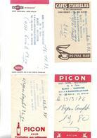 4 Facturettes / 52 BOURBONNE LES BAINS / Hôtel Restaurant ELYETT-WAECHTER / Pub PICON  MARTINI Café Stanislas - Facturen