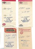 4 Facturettes / 52 BOURBONNE LES BAINS / Café Restaurant Le Rêve Mme SUR / Pub ORANGINA MARTINI Anisette BERGER - Facturen