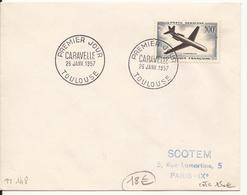 ENVELOPPE PREMIER JOUR CARAVELLE TOULOUSE 1957 - FDC