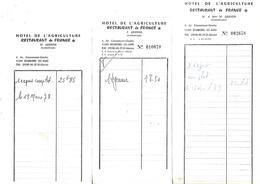 10 Facturettes / 52 BOURBONNE LES BAINS / Hôtel De L'Agriculture / J. ZARENDS - Invoices