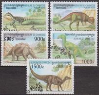Faune Préhistorique - Dinosaures - CAMBODGE - Prenocephale, Microcératops - N° 1641 à 1646 - 1999 - Cambodge